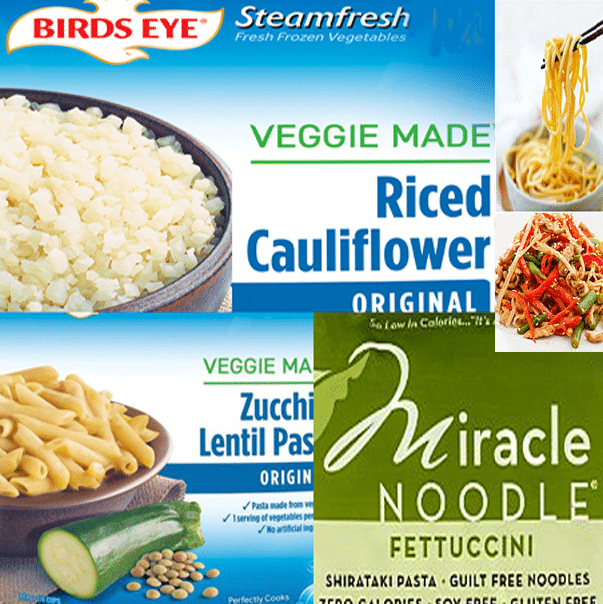 Veggie products from cauliflower and zucchini can substitue for rice, pasta, pottoes